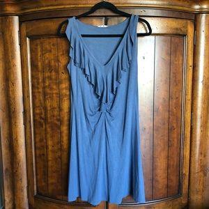 EUC Three Dots Stretch Ruffle Blue Dress